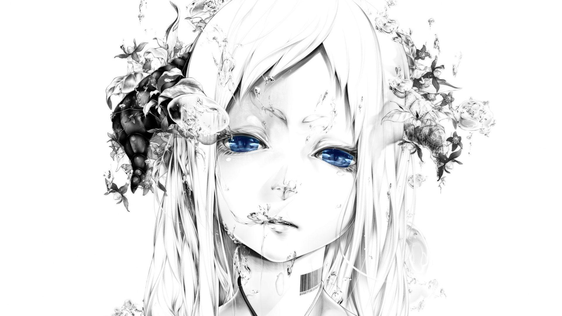 1920x1080 Wallpaper Art Bouno Satoshi Girl Face White Background Graphic Monochrome Blue Eyes Water Bubbles Barcode