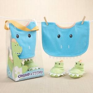 Chomp stomp dinosaur bib and booties gift set baby feeding unique baby gifts baby gift baskets baby shower favors personalized baby blankets and hundreds of inexpensive baby gifts for any budget negle Gallery