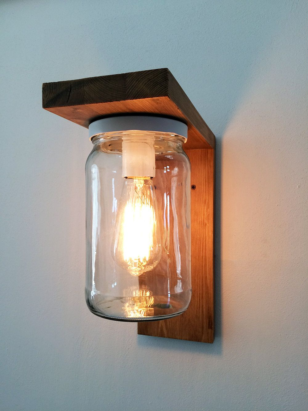Photo of Lantern Wood Lamp for garden with jar lampshade. Wall sconce outdoor lighting.
