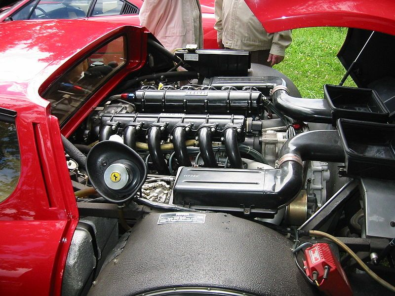 V,12 engine in the Ferrari Berlinetta Boxer.
