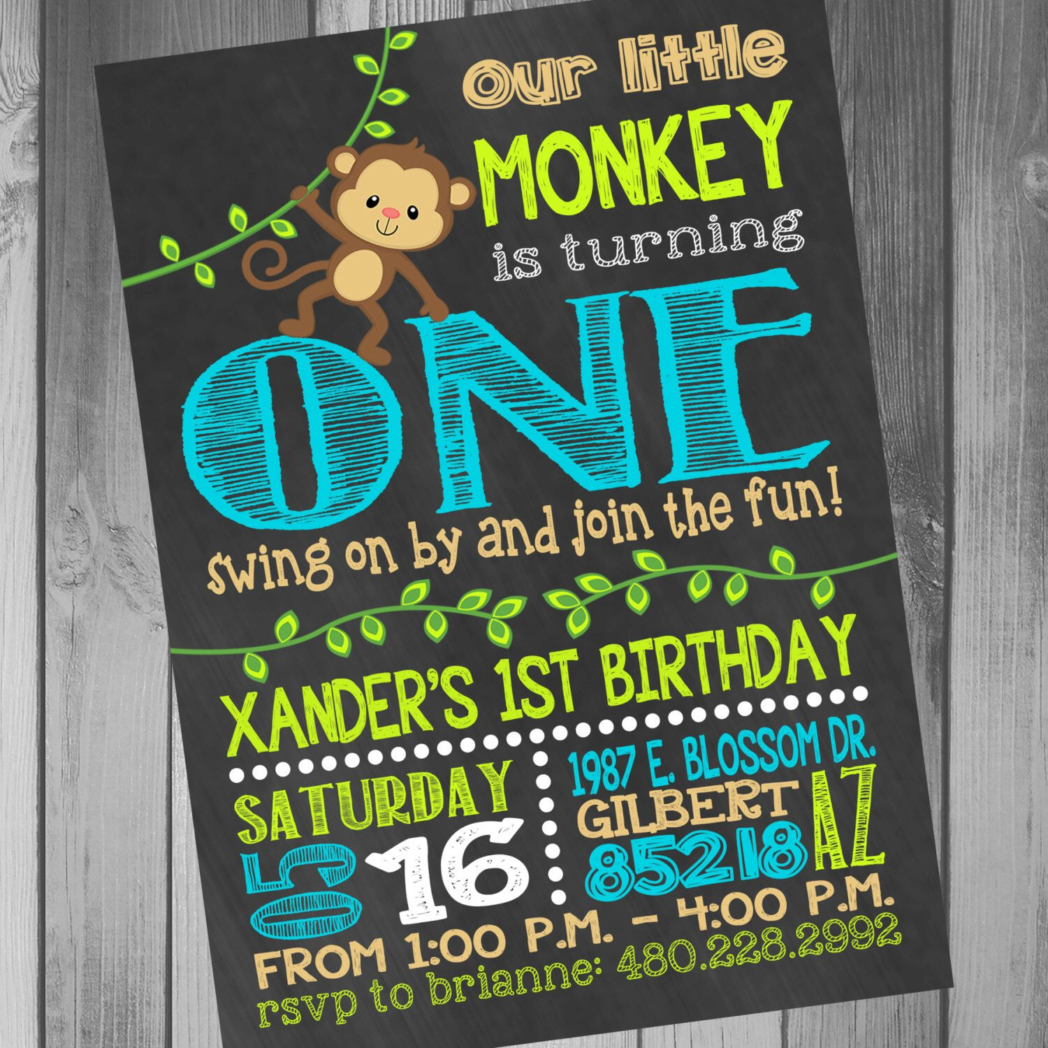 Monkey Birthday Invitation Monkey Birthday Party Monkey