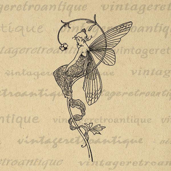Digital Image Fairy Graphic Illustration Download Printable - deko für küchenwände