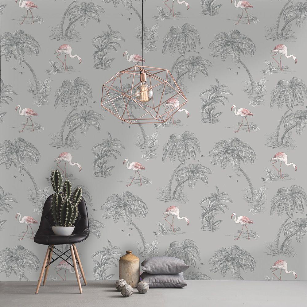 Flamingo Lake Wallpaper Grey Holden 12381 Wallpaper Bed