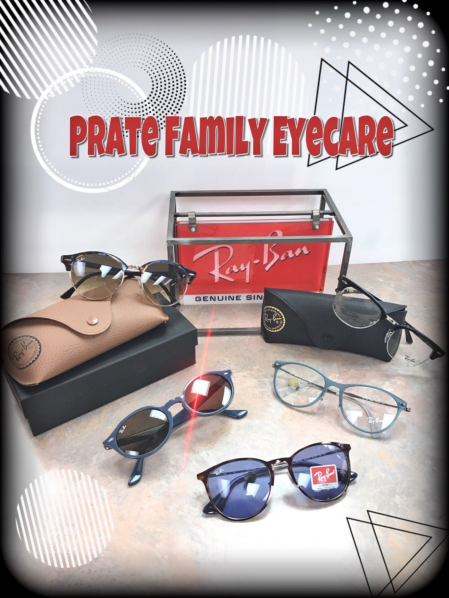 c9ad8b976bf7b Head out in style with a pair of Ray-Ban sunglasses or prescription glasses.  New styles have arrived! Prate Family Eye Care will help you look   see  your ...