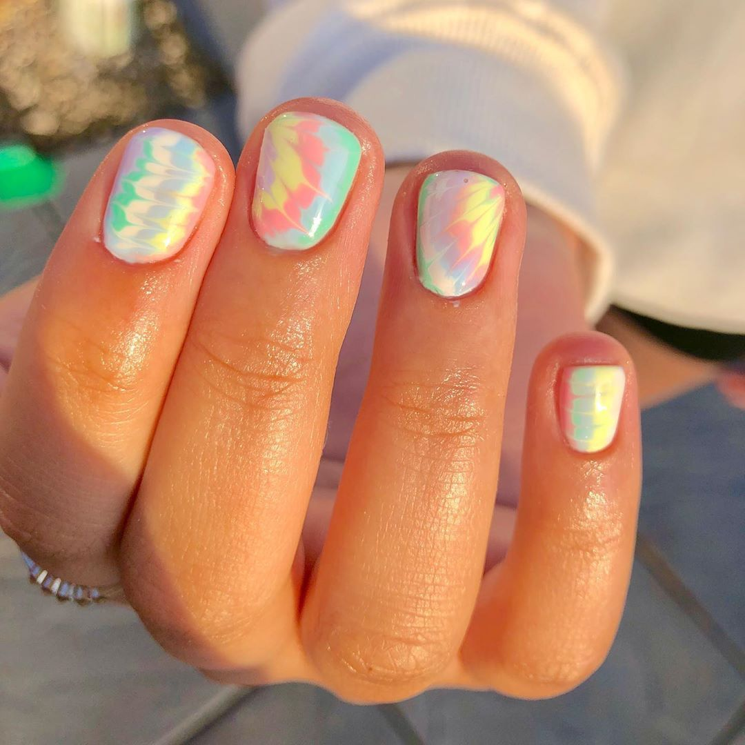 Hard As Nails Studio On Instagram This Weather Is A Moooood So Here S Some Pastel Tie Dye S Using All The Gelbo In 2020 Tie Dye Nails Hippie Nails Hard Gel Nails