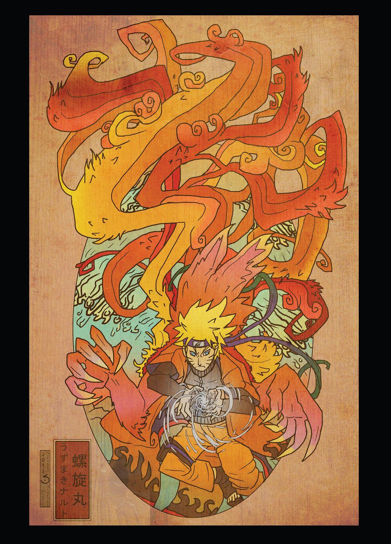 Naruto Woodblock postcard print. 2.50, via Etsy