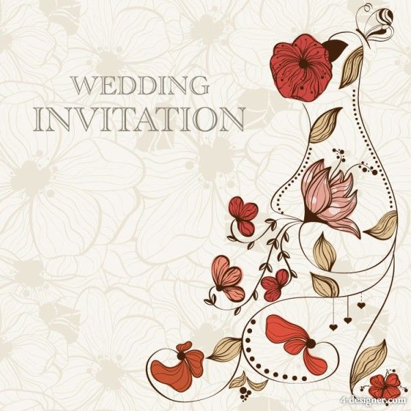 Hand-drawn-cartoon-wedding-invitation-card-vector-material-flowers - best of invitation card vector art