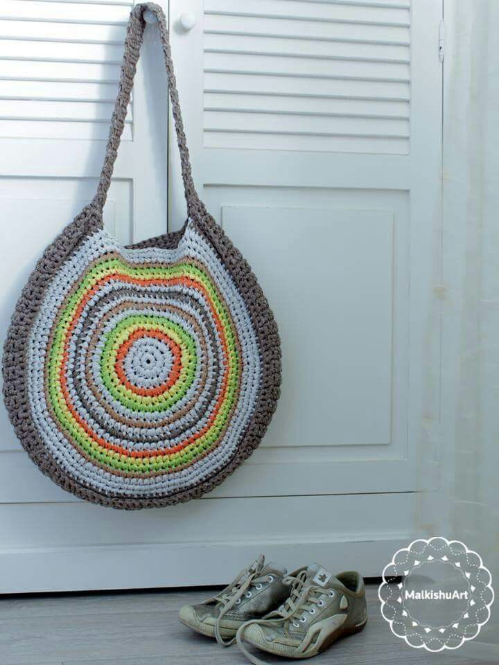 crochet tote made with Katia Washi yarn | Crochet tote bag market ...