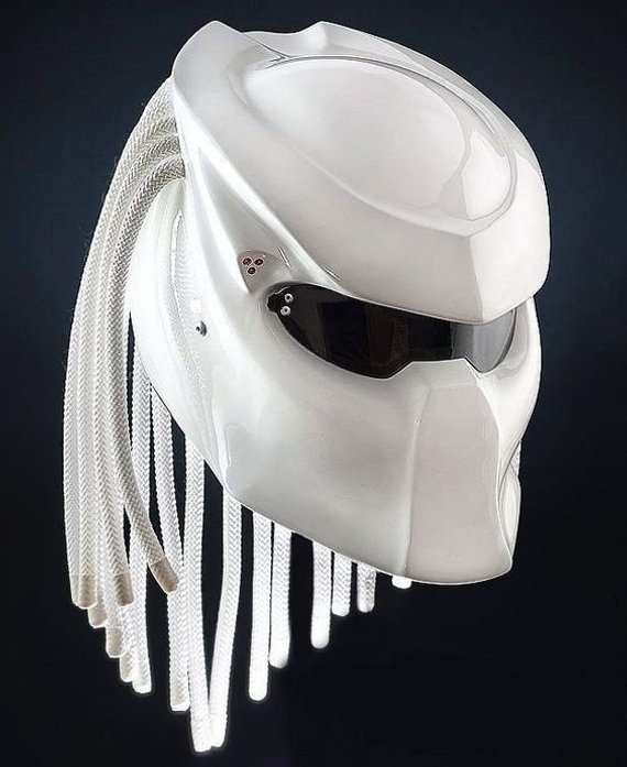 91dceb05 White Predator Helmet Pro Motorcycle Custom DOT Approved FULL FACE ...