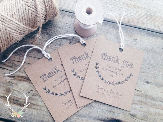 Personalised Printable Thank You Wedding Gift Tags
