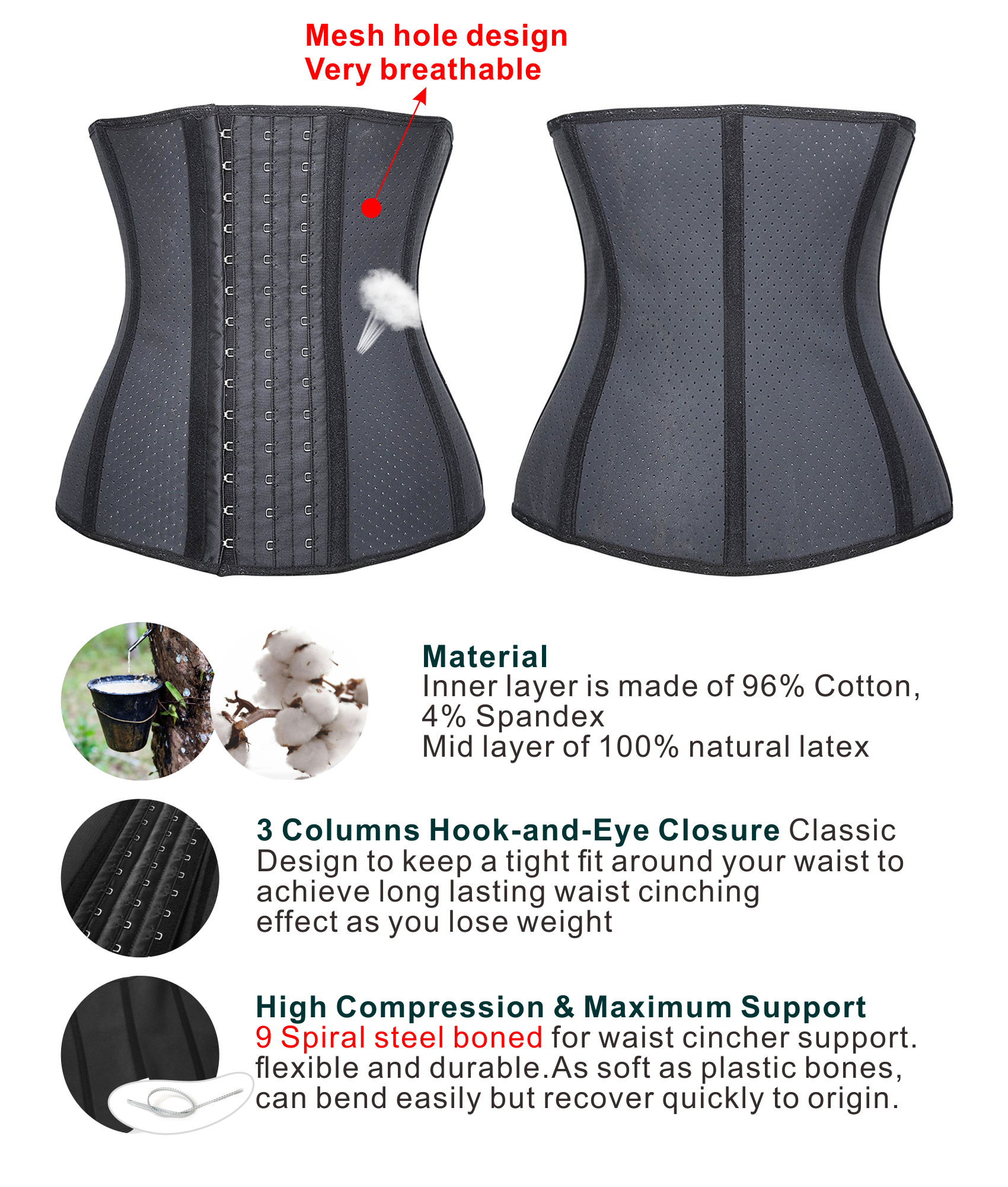 016411ade7 Camellias Women Classic 3 Hooks Latex Waist Trainer Corset For Weight Loss  Waist Cincher Body Shaper