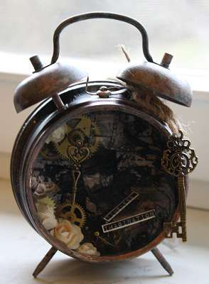 Altered Clock mixed media