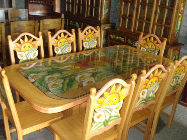 Mexican painted dining set artsy furniture pinterest for 80s furniture for sale
