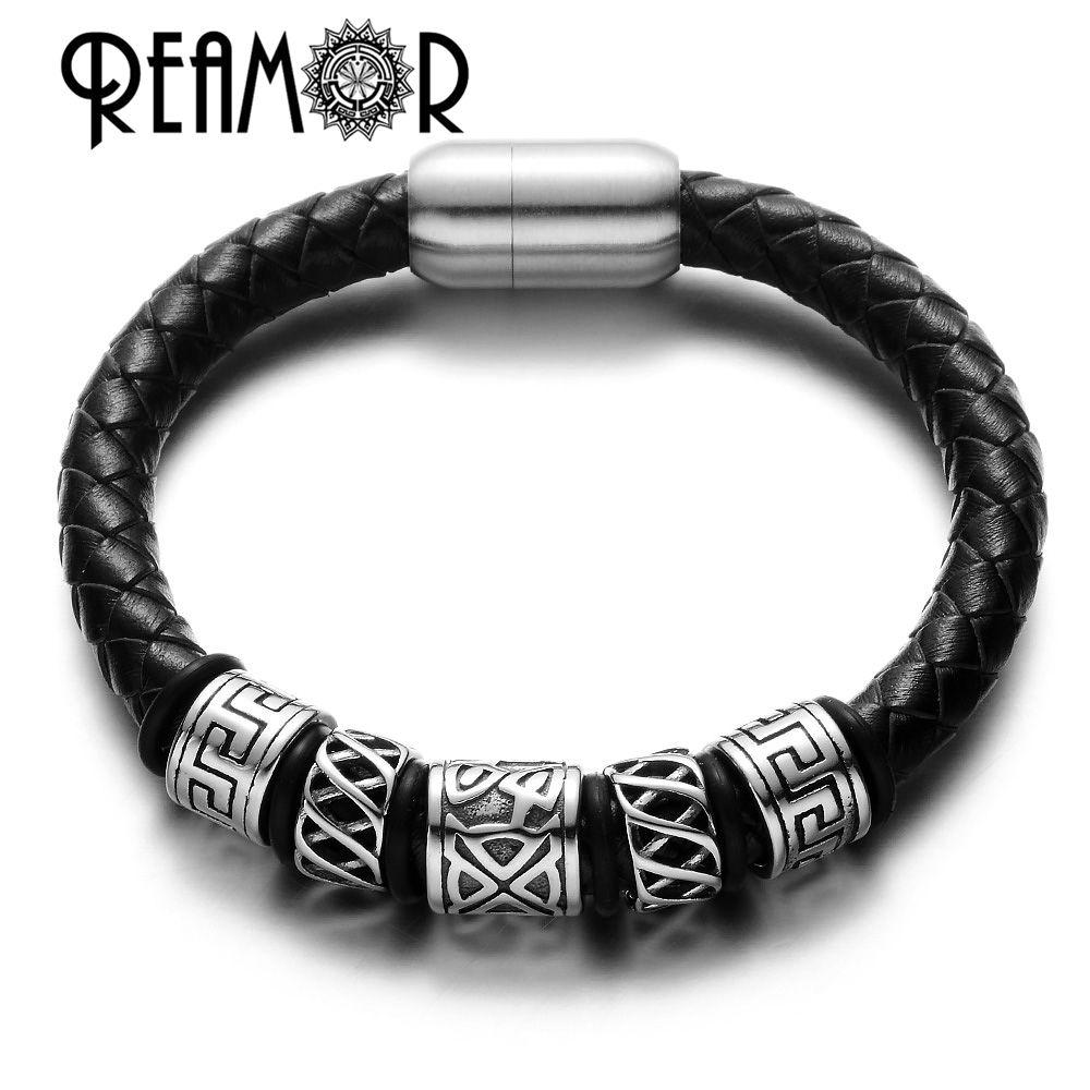 Reamor trendy men black leather bracelet l stainless steel
