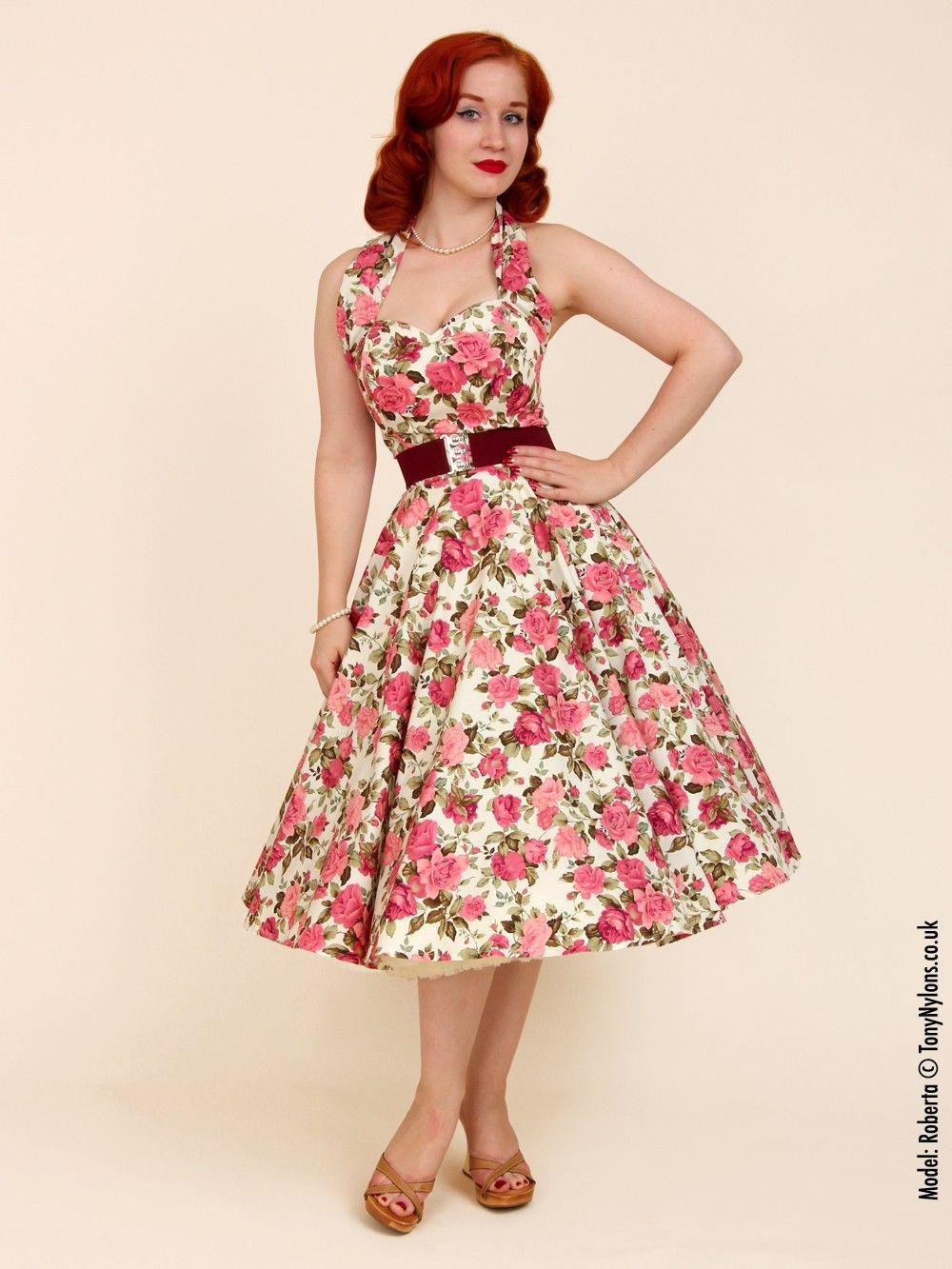 e4871452 1950s Halterneck Cream Tea Rose Dress from Vivien of Holloway | My ...