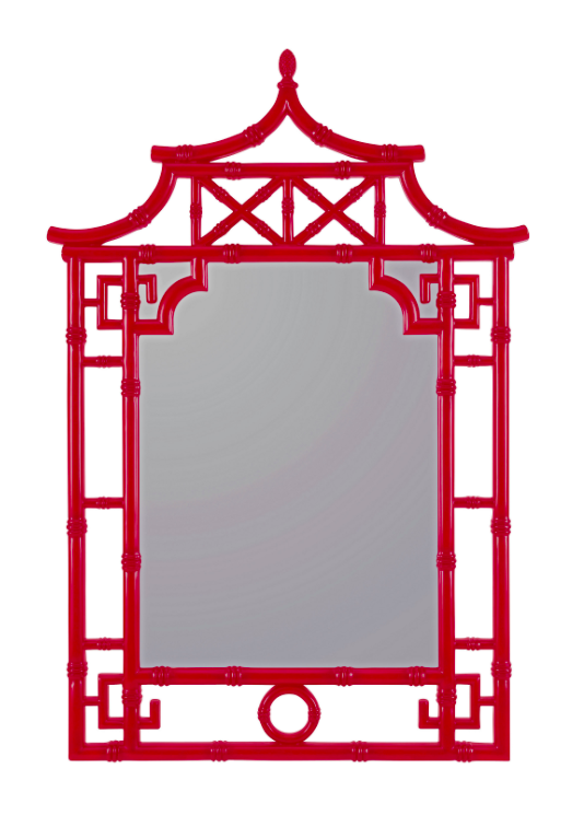 Glossy Red Bamboo Mirror