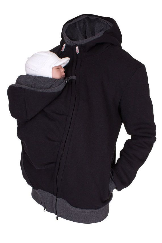 BRAND NEW  3 Viva la Mama   Baby wearing jacket for men! The casual  handmade jacket (black - sweatshirt fabric) CARRY ME for baby wearing dads  keeps your ... eed24889a05