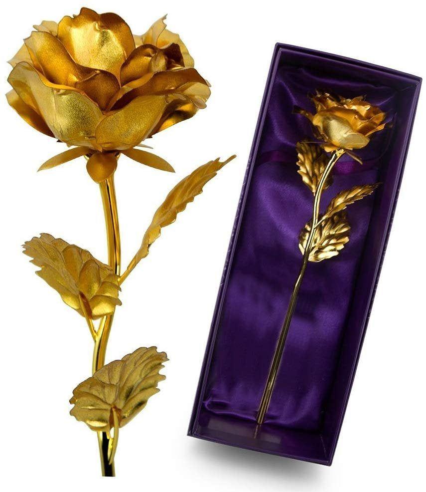 24k Gold Rose Foil Stem Artificial Rose Enchanted Forever Rose is Everlasting Infinity Rose Gift For Girls To Show Eternal Love 24k Gold Rose Foil Stem Artificial Rose En...