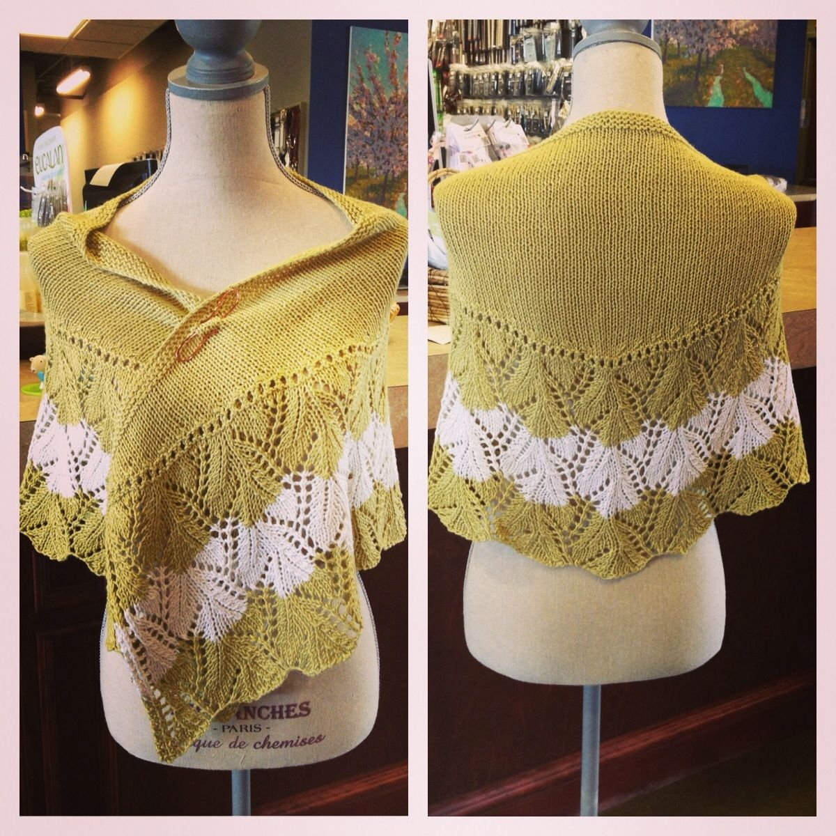 Lovely lace shawl knit out of a deliciously drapey wool and bamboo blend. #personalthreadsboutique