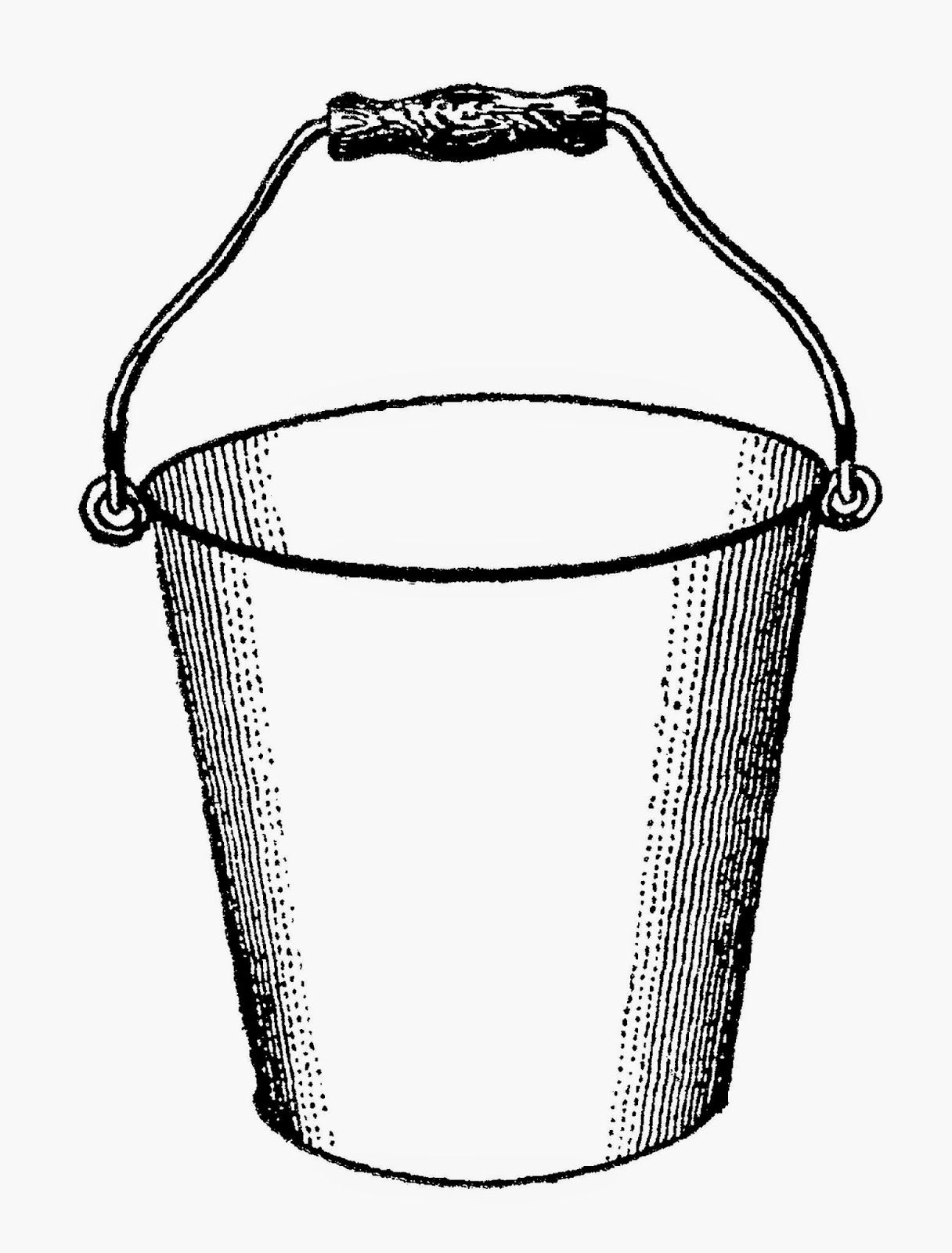 Antique Images Free Printable Digital Transfer Of Gardening Clip Art Water Bucket