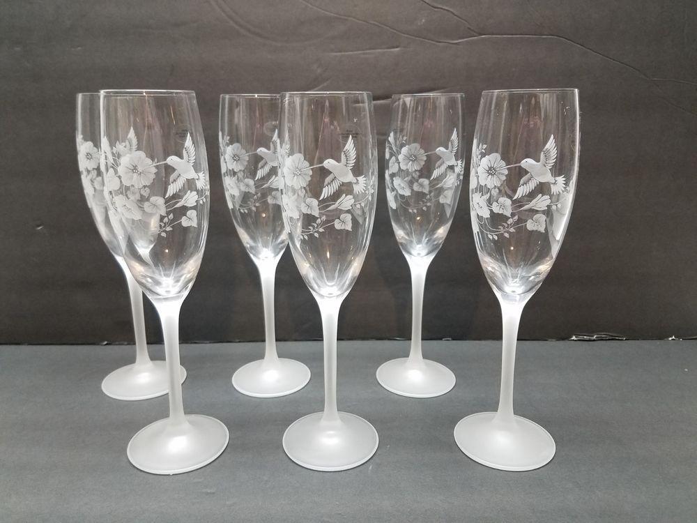 Set Of 6 Avon Crystal Hummingbird Wine Champagne Glasses Flutes Stem Flower Lot Avon Gravure Sur Verre Verre