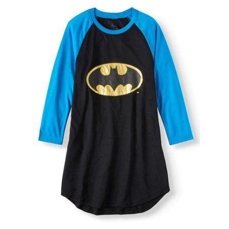 738ecf91aee0 Plus Size Batgirl 'Logo' Raglan Pajama Nightgown (Little Girls & Big Girls),  Size: Kids 4 Plus, Black