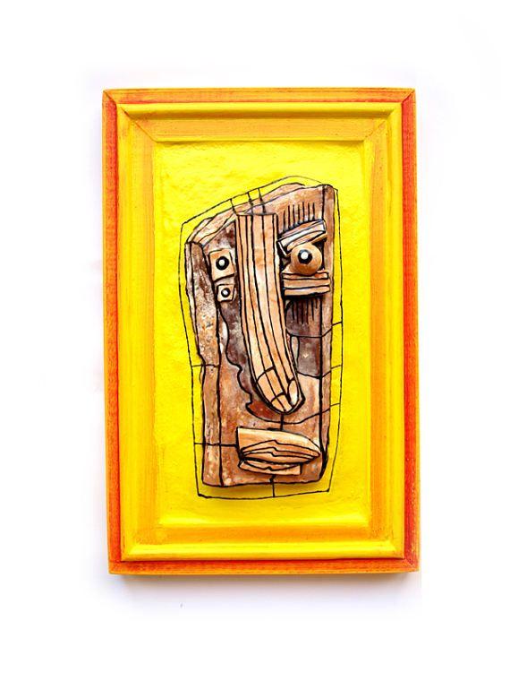 3D wall sculpture, Yellow sculpture, Weird sculpture, Modern ...
