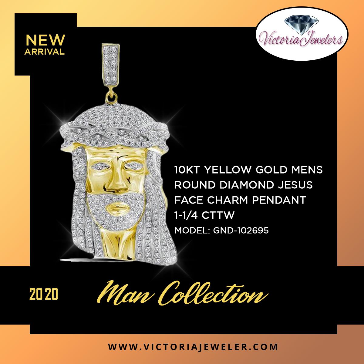 10kt Yellow Gold Mens Round Diamond Jesus Face Charm Pendant 1 1 4 Cttw In 2020 Diamond Jesus Charm Pendant Jesus Face