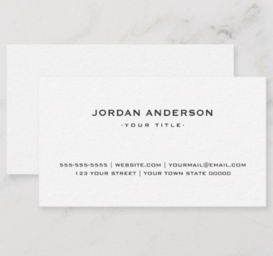 Professional Simple White Plain Elegant Modern Business Card Zazzle Com Modern Business Cards Professional Business Cards Templates White Business Card