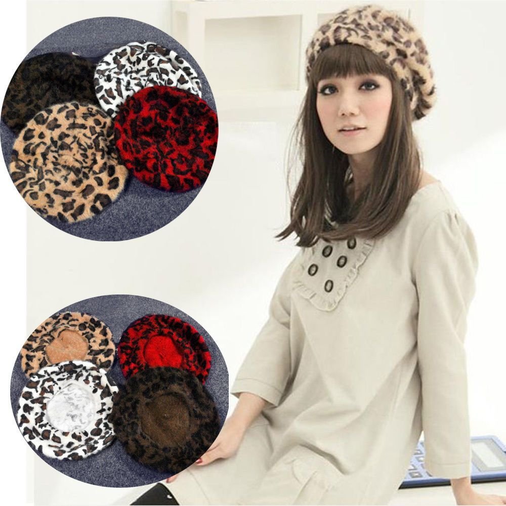 1003b3f8bb3 Women French Style Vintage Leopard Print Wool Soft Winter Warm Beret Beanie  Hat