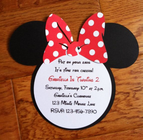 20 Handmade Minnie Mouse Invitations with by GabbyCatCreations