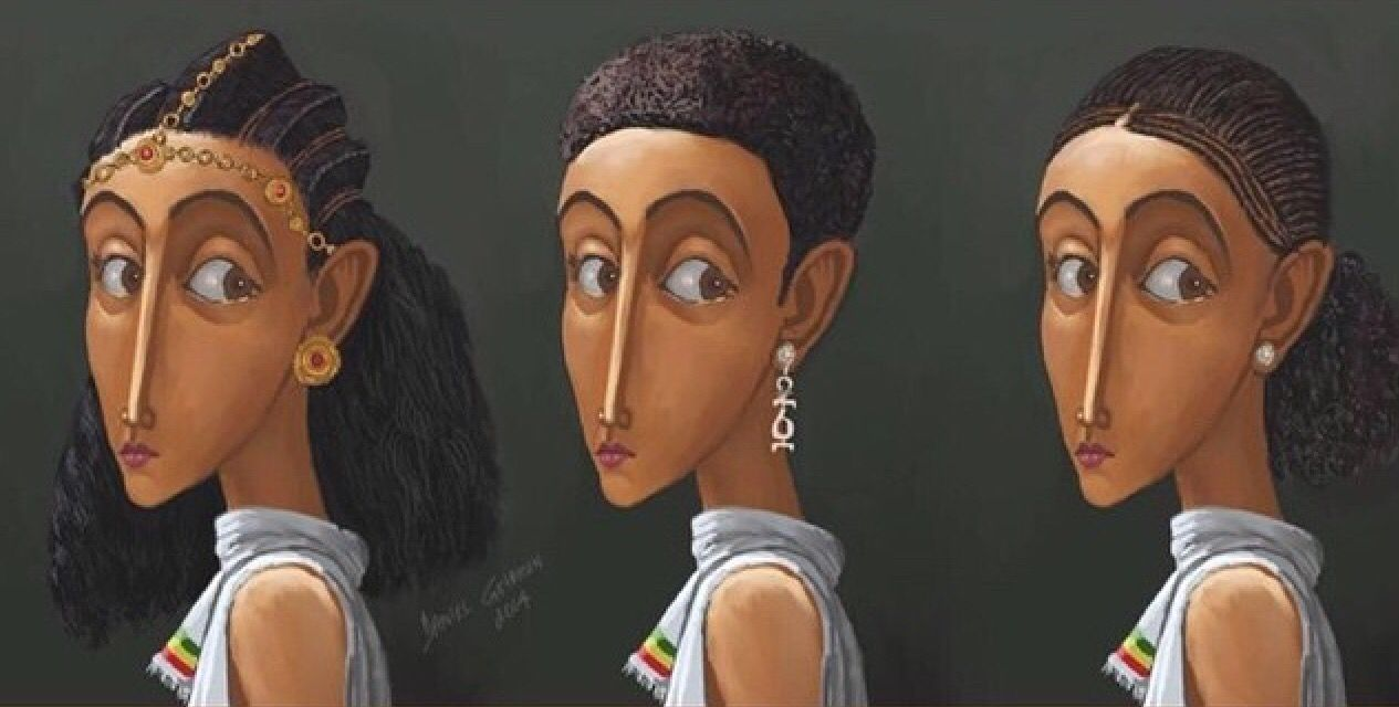 Drawing of just a few of the hairstyle in Ethiopian.