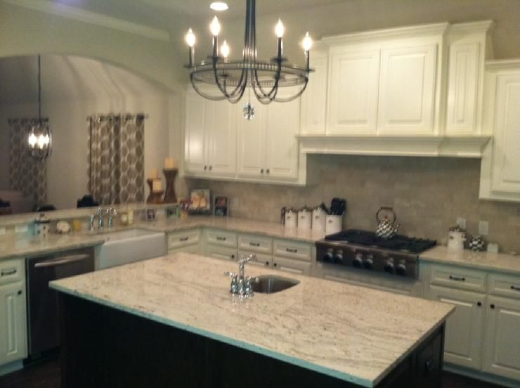 Kitchens   Sherwin Williams Dover White, Chandelier, Sink, Kitchen Opens Up  To Great Room. River White Granite, Stained Island, Restoration