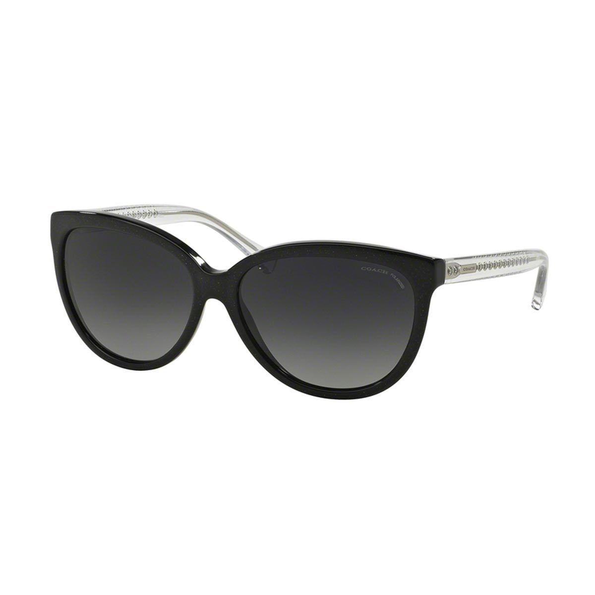 95d38d6068516 Coach Women s HC8153 Black Plastic Square Polarized Sunglasses (Black  Glitter Crystal Grey Gradient Polar)