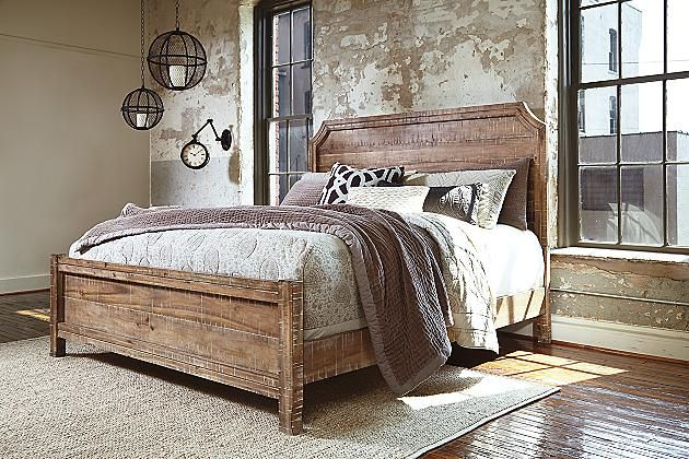 light brown fanzere king panel bed ashley furniture no prices listed