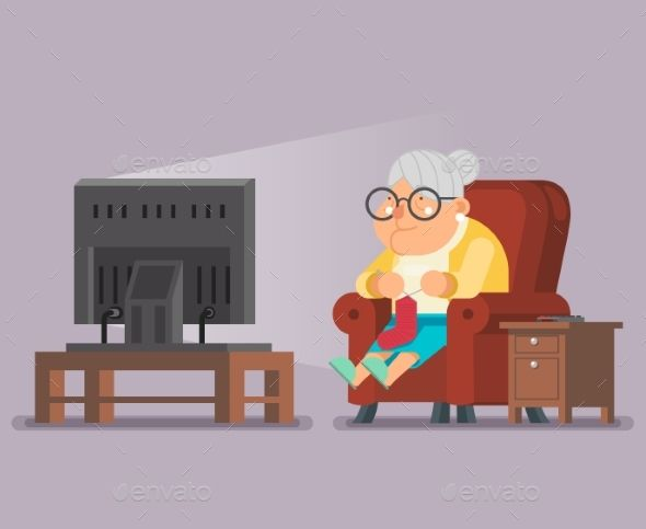 Old Lady Watching Tv Siting In Armchair Cartoon Cartoon Character Design Cartoon Character Template