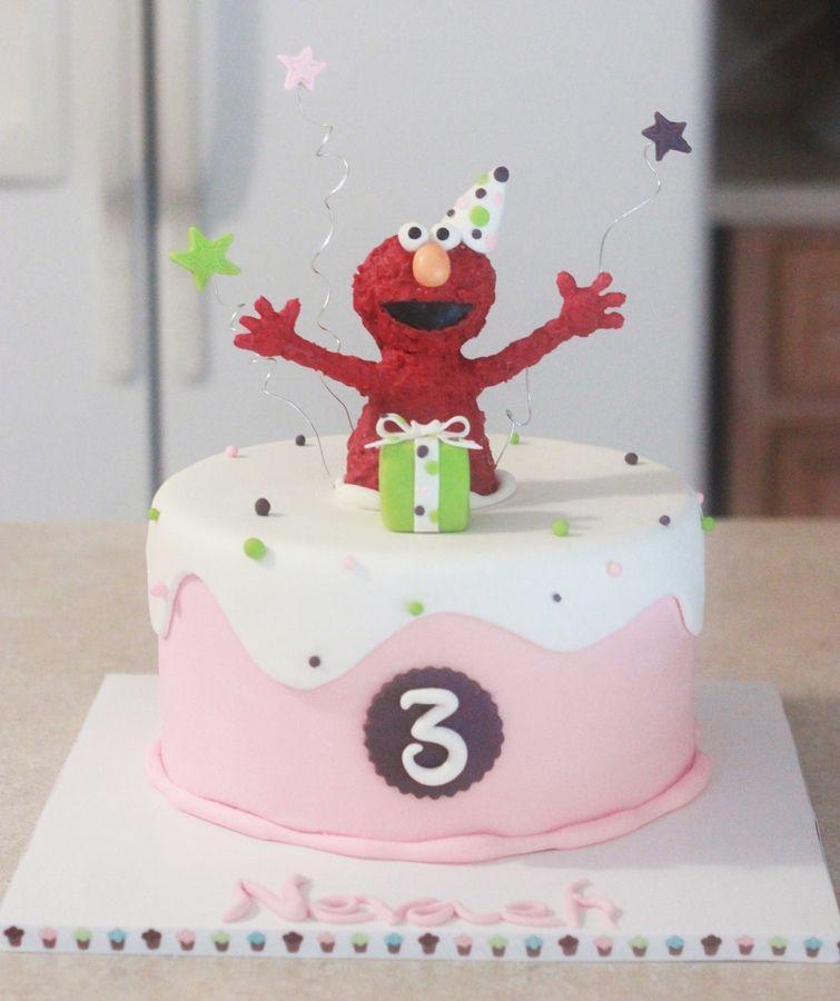 Elmo Pink Cake Elmo birthday cake, Pink birthday cakes
