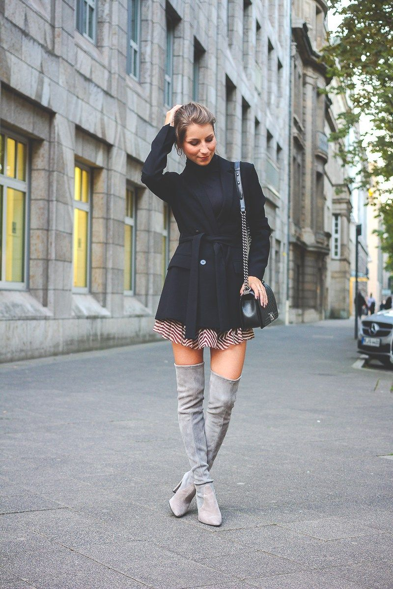 outfit how to wear overknee stiefel boots heels. Black Bedroom Furniture Sets. Home Design Ideas