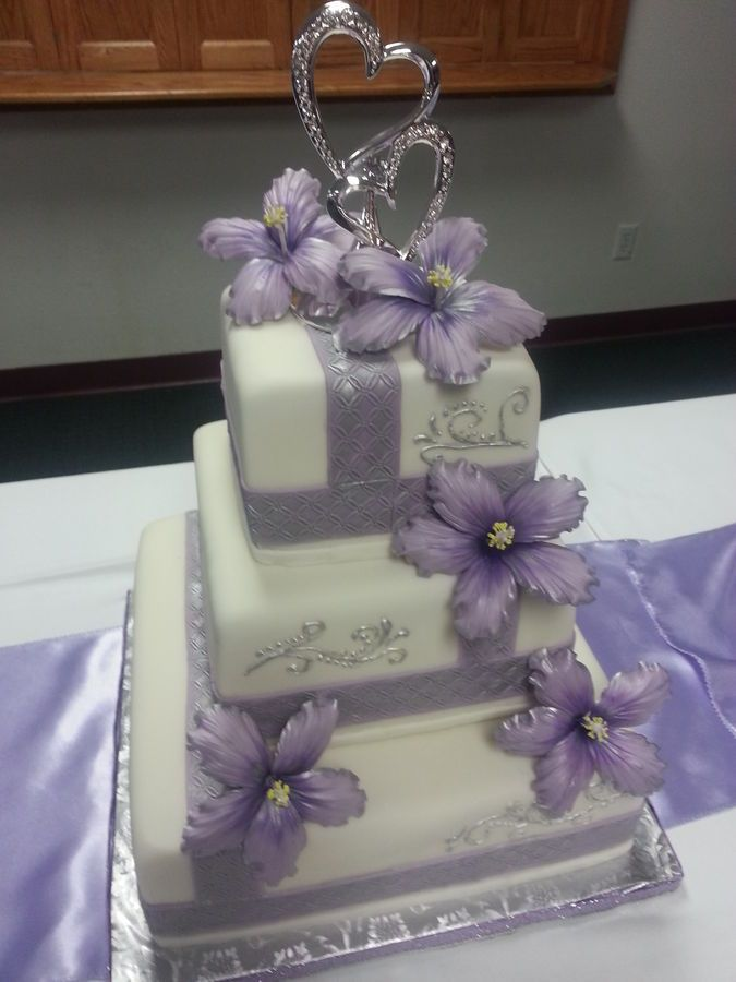 Fondant Covered 3 Tier With Silver Scroll Work And Sugar Hibiscus