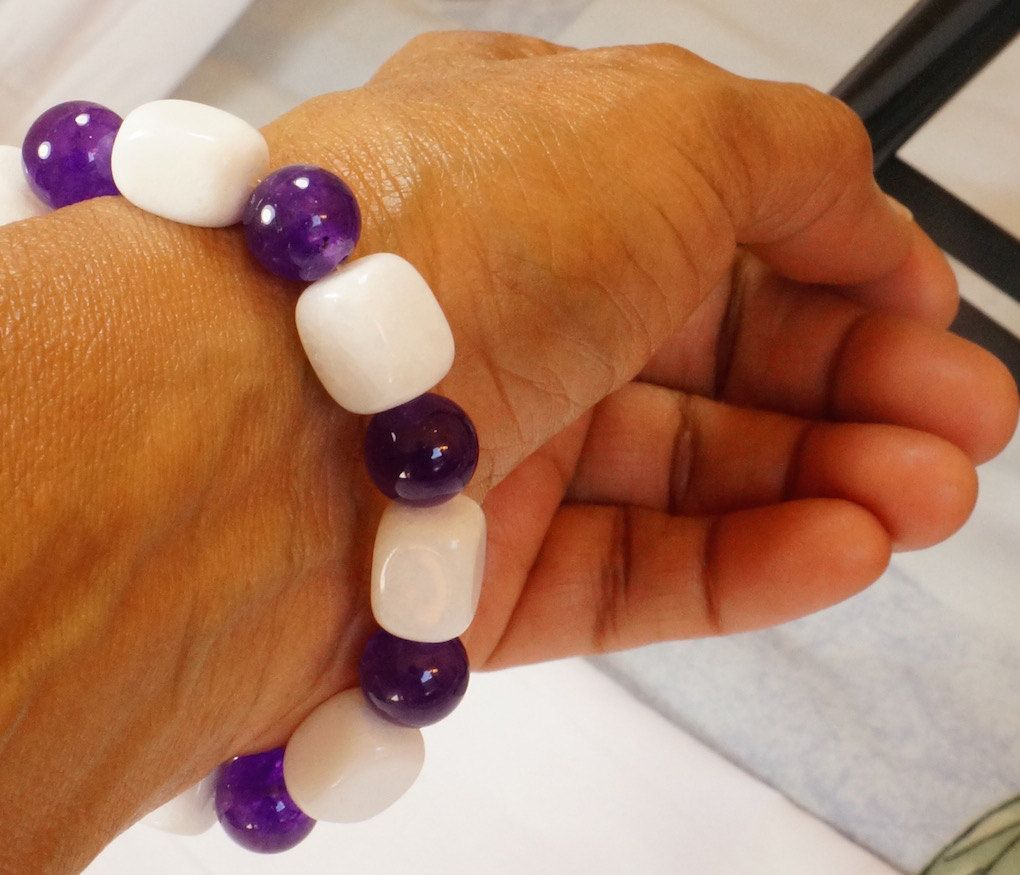 Amethyst and white agate bracelet beaded bracelet womenus