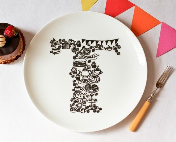 T for Tea Party  Alphabet Ceramic Plate Black by justnoey on Etsy, £30.00
