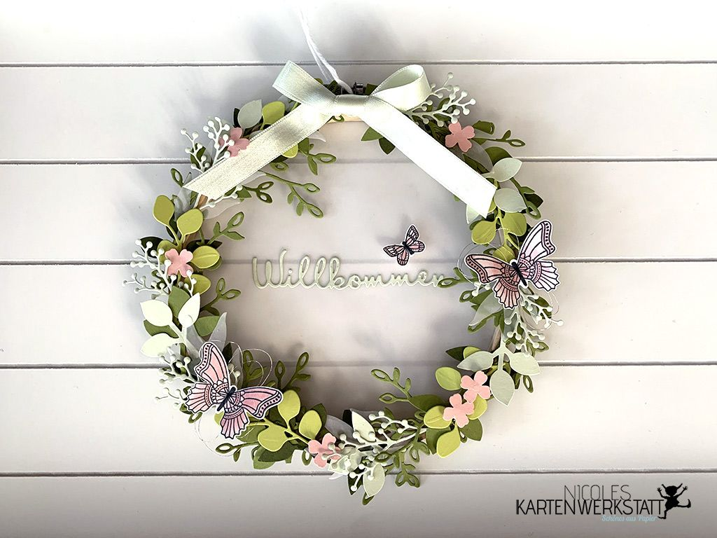 Photo of Embroidery hoop with flower wreath   Nicole's card workshop