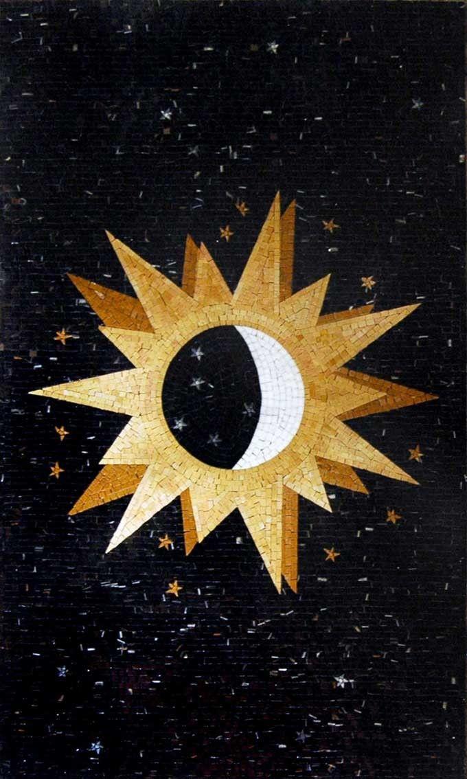 sun moon ans stars mosaic | Sun Moon Stars Marble Mosaic mural