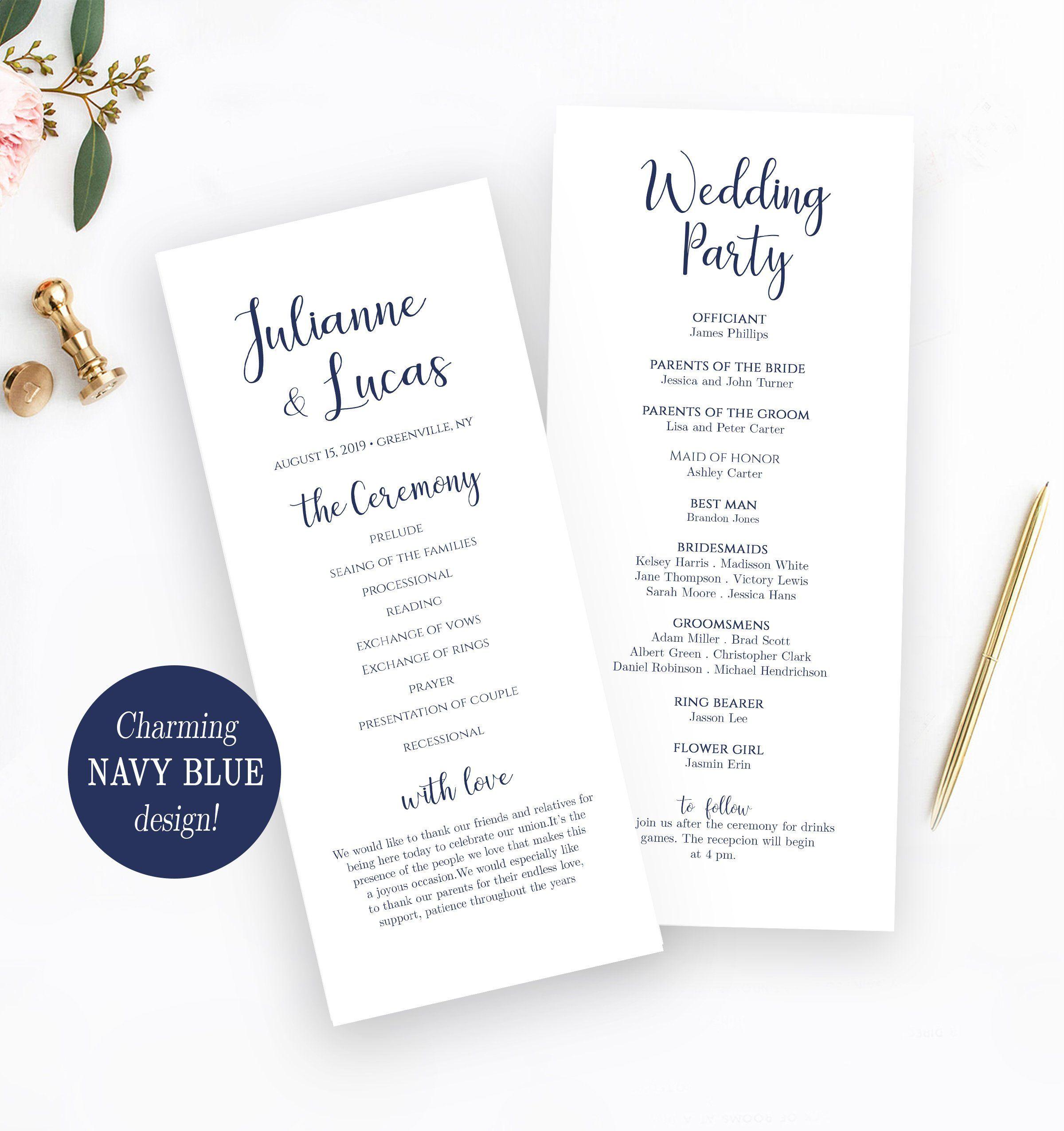 Printable Wedding Program Template Order Of Service Template Etsy Printable Wedding Programs Printable Wedding Program Template Wedding Programs Template