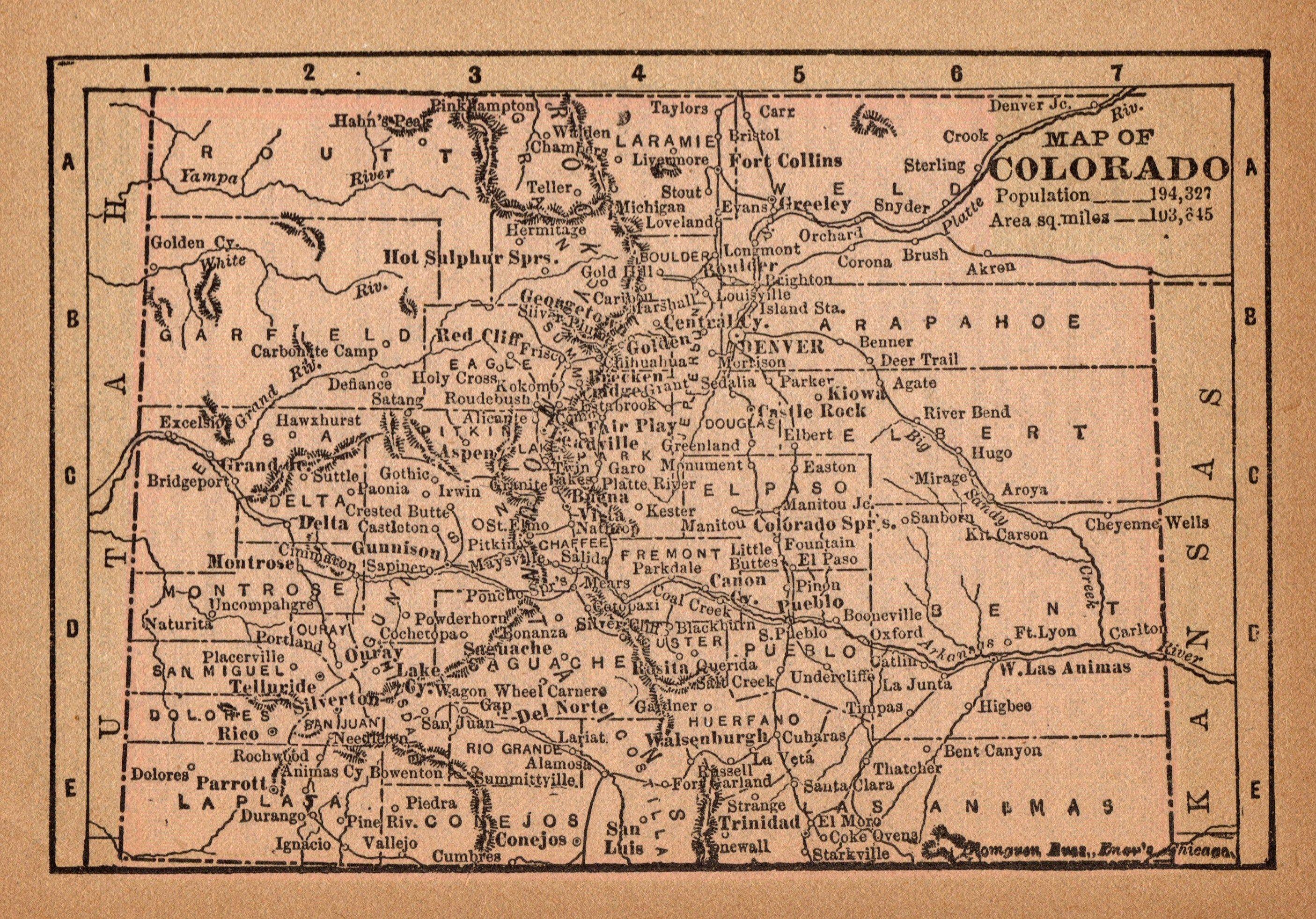 1888 Antique Colorado State Map Rare Size Miniature Map Etsy Colorado Map Miniature Map Art Gallery Wall