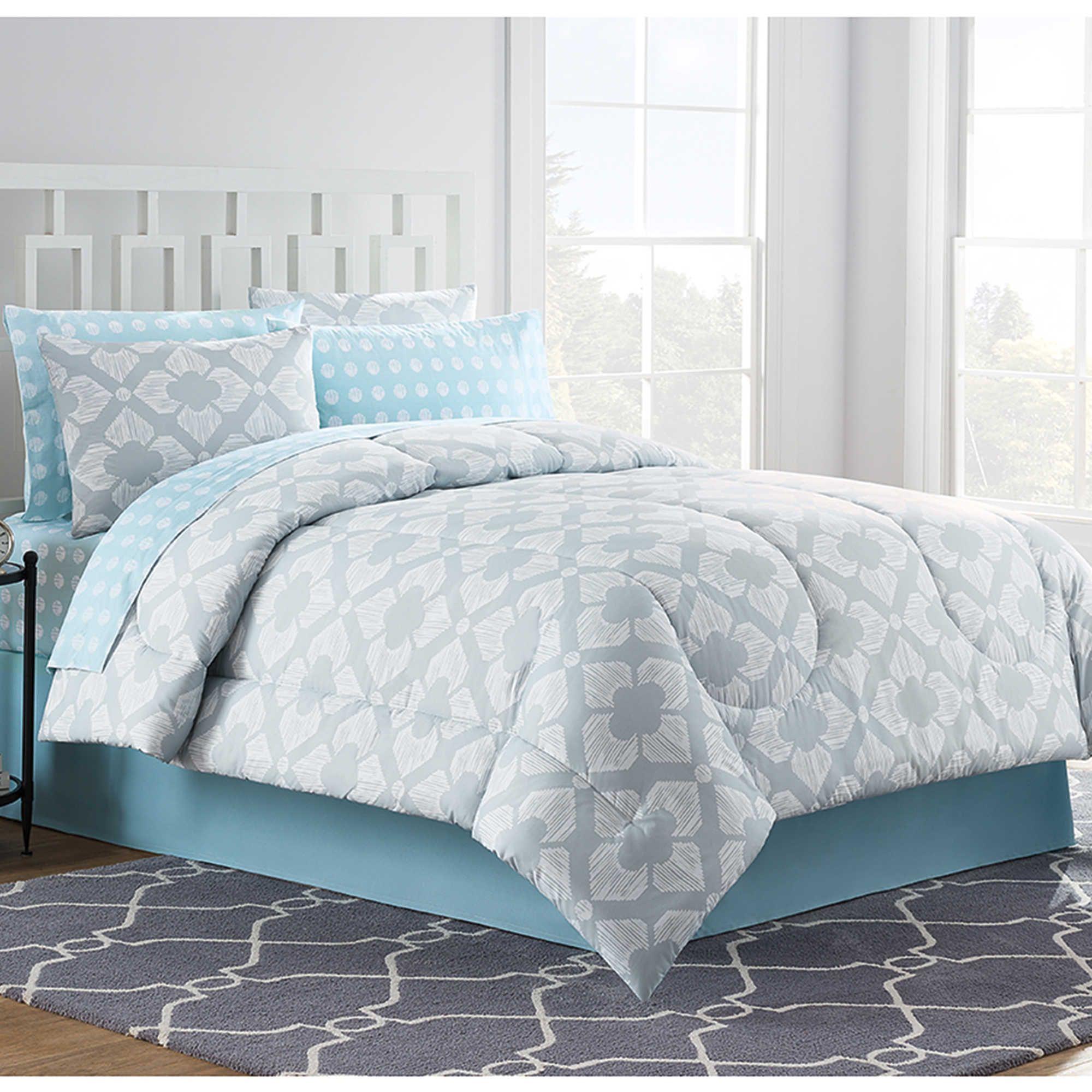Chandra Comforter Set In Light Grey Comforter Sets Discount Bedroom Furniture Light Blue Comforter