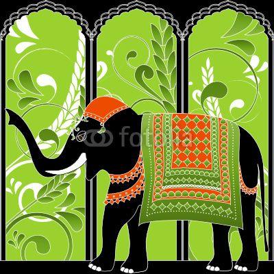 Decorated indian elephant. Vector illustration. © BibiDesign
