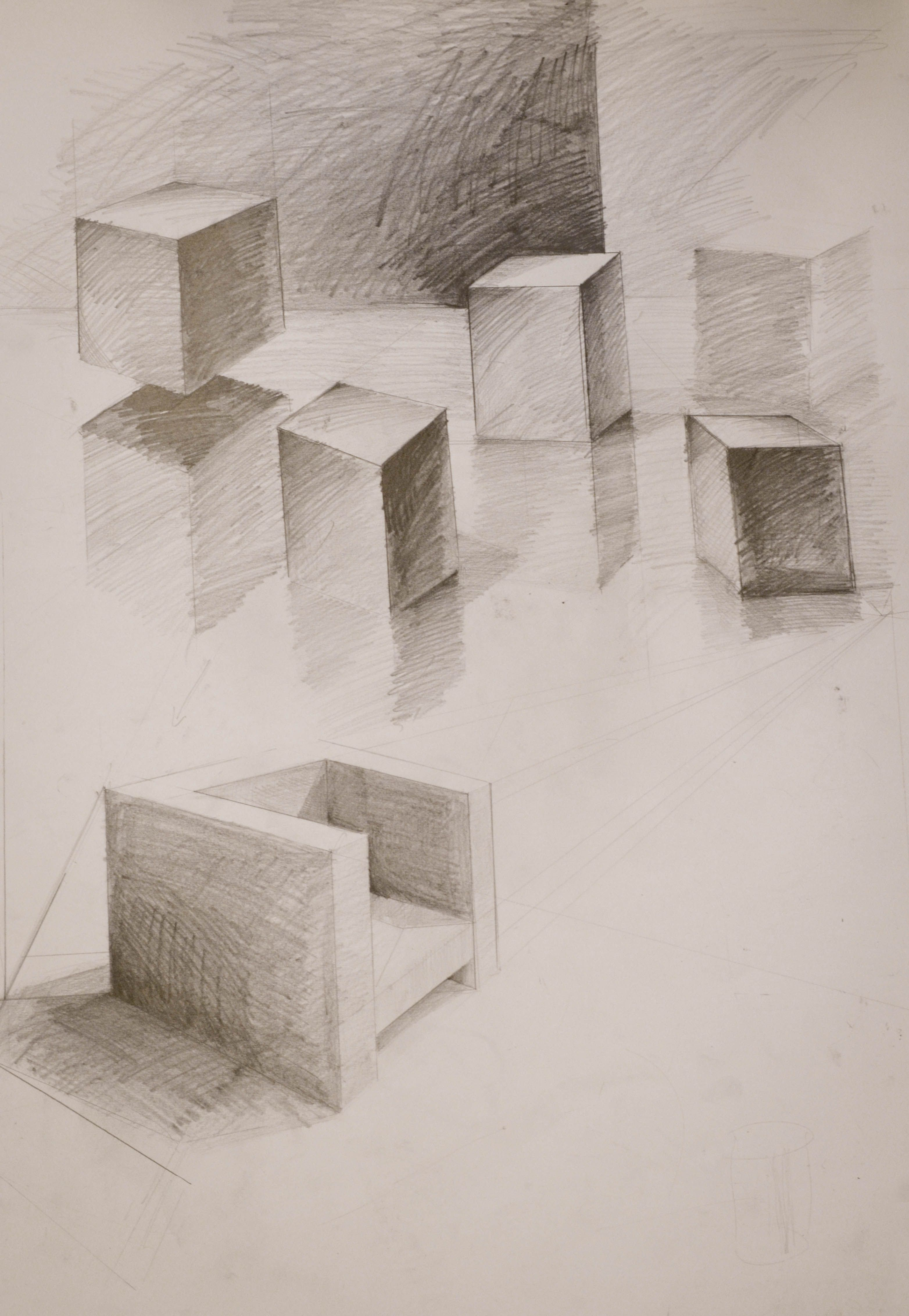 Martyna Kowalska School of Form perspective and shading exercises