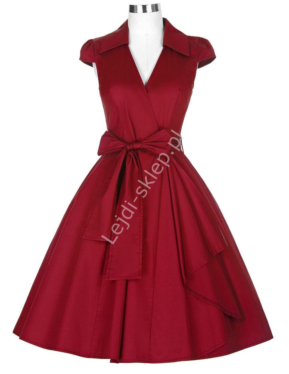 d1822f5ad1 Czerwona bawełniana sukienka w stylu retro