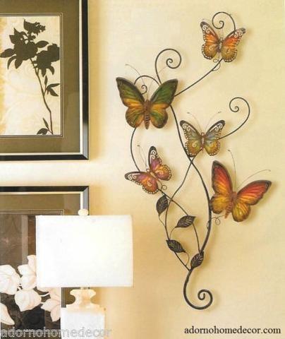 Metal Butterfly Wall Decor Art Garden Cottage Unique Indoor Outdoor ...